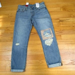 NWT Levis 501 CT Womens Sz. 25X32 Cropped Ripped